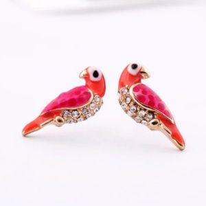 pair of love birds earrings Jewelry - Pair of Love Birds Earrings Tiny Studs Crystals